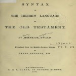 Syntax Hebrew Old Testament 1891